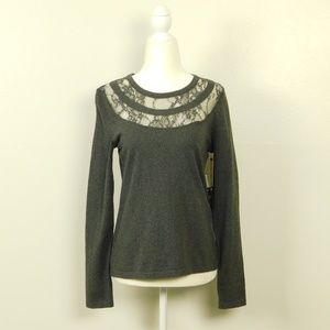 Vince Camuto Sweater Lace Neck Crew Size S NWT